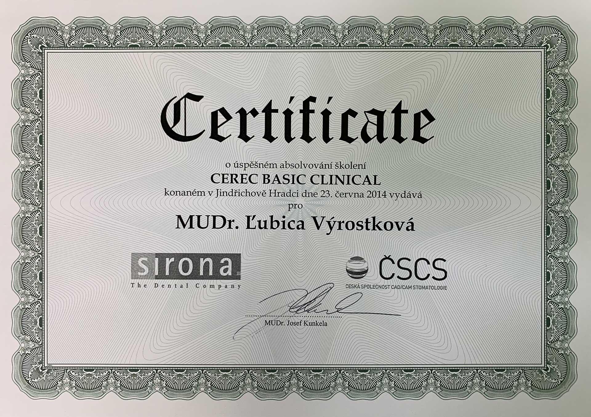 cerec certifikát lubica výrostková